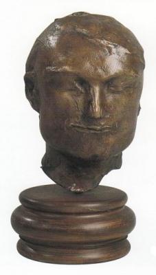 1983, Férfi maszk, mintázott, bronz, márványtalapzattal