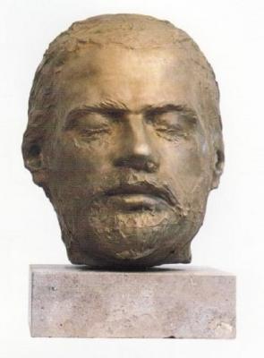"""1985, """"Önportré"""" mintázott, bronz, márványtalapzattal"""