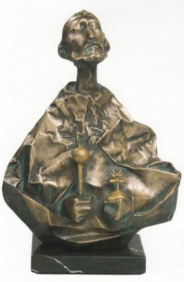 1987, Szent István király, bronz, gránittalapzattal