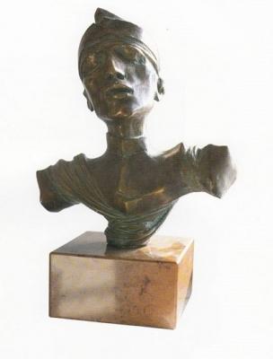 1991, II. világháborús kisplasztika, bronz, márványtalapzattal