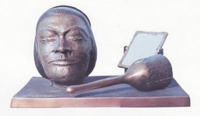 1977, Csendélet, bronz, fa
